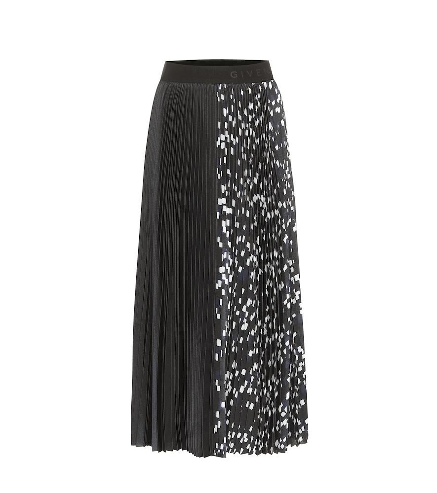 High-rise pleated satin midi skirt