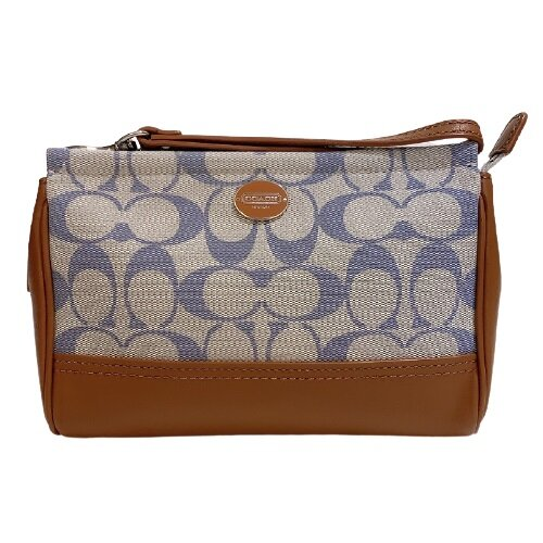 COACH 專櫃款淺藍色C LOGO織布+皮革大手拿包- 49270-SVBC4