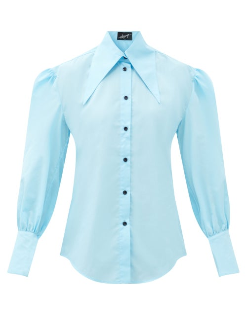 Elzinga - Gathered-sleeve Cotton-blend Poplin Blouse - Womens - Blue
