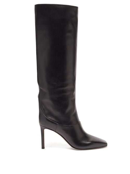 Jimmy Choo - Mahesa 85 Square-toe Knee-high Leather Boots - Womens - Black
