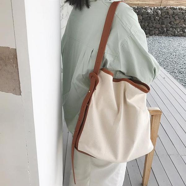 韓國新款子母包簡約百搭帆布包女斜挎單肩ins水桶包大容量購物袋 【雙11】