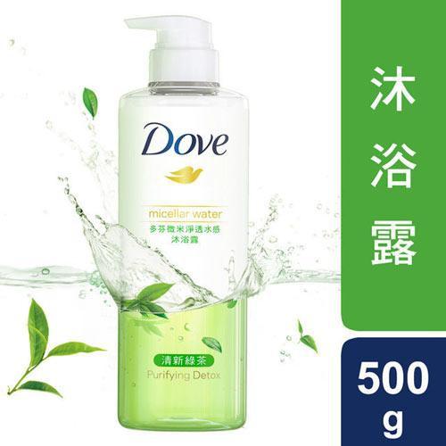 多芬微米淨透水感沐浴露-清新綠茶500g【愛買】