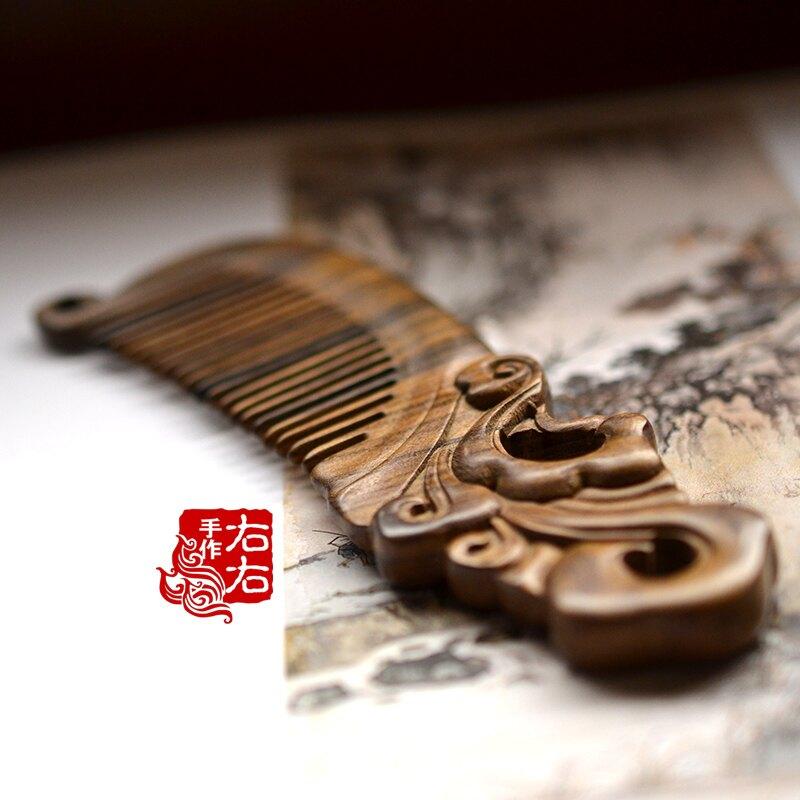 雕刻木梳沉貴寶木雕刻卷云雙面長柄梳子古典古風發梳配盒1入