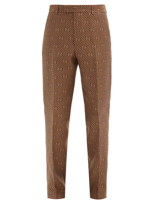 Gucci - Cotton-blend Gg-jacquard Trousers - Mens - Brown