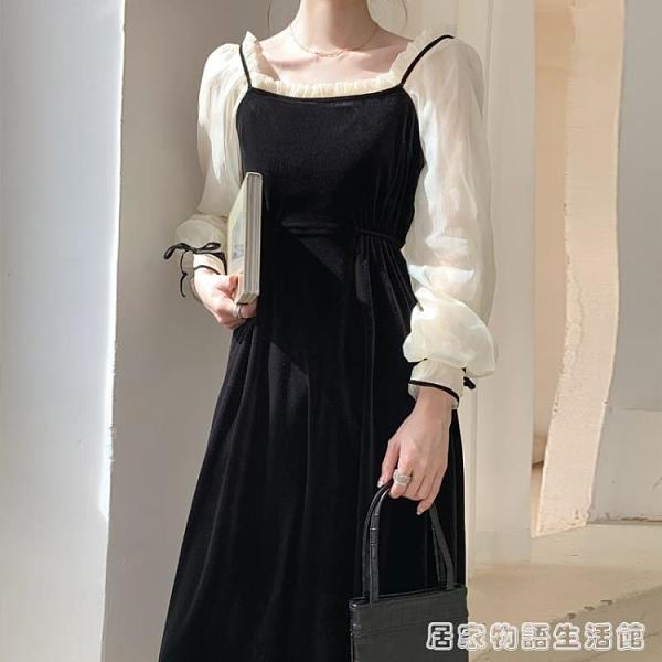 秋裝新款法式復古黑色絲絨方領洋裝氣質輕奢溫柔宮廷風長裙 聖誕節全館免運