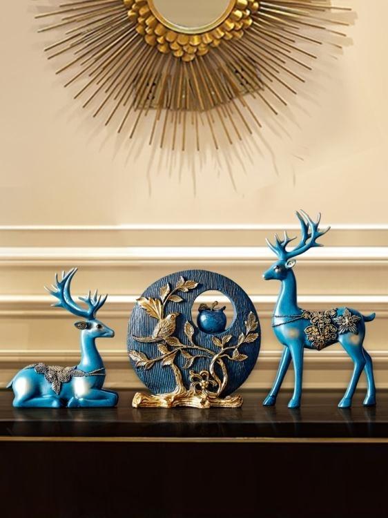 擺件 電視柜擺件招財鹿家居工藝飾品結婚禮物玄關美式酒柜創意歐式