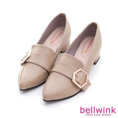 bellwink-金屬方釦尖頭低跟鞋-駝-b1032lc