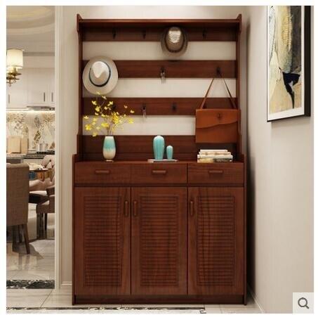實木色鞋櫃衣帽掛衣架組合門廳櫃簡約現代大容量玄關門口家用鞋櫃