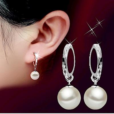 I.Dear飾品-亮麗甜心-正白K-氣質珍珠圓弧造型耳環DB18