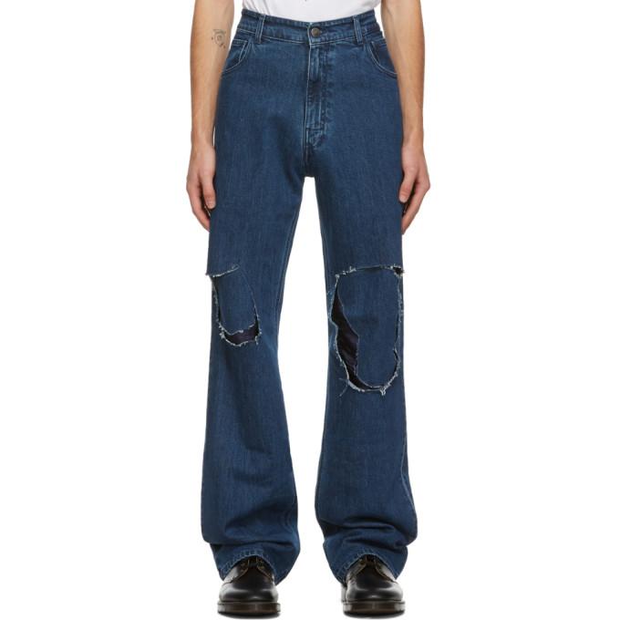Raf Simons 海军蓝 Uneven Knee Patch 牛仔裤