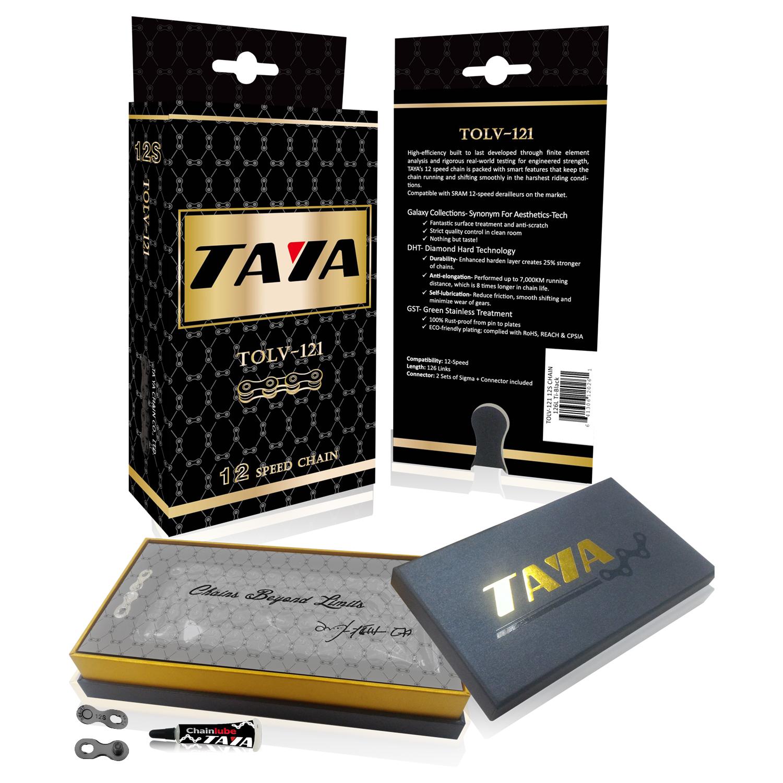〈TAYA大亞鏈條〉12速自行車鏈條 / 鈦黑配色 / 附12速快扣2組 / 126目 盒裝 / 適配SRAM, Shimano 12速變速系統 台灣製
