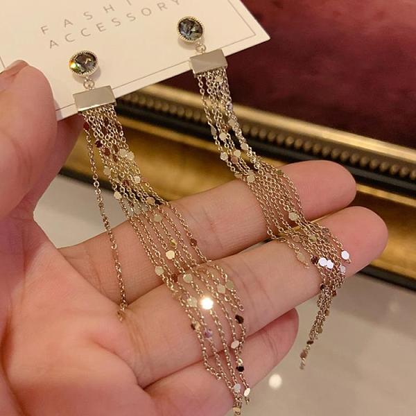 耳飾 耳環女新款潮流蘇耳飾韓國個性網紅溫柔顯瘦純銀針耳釘