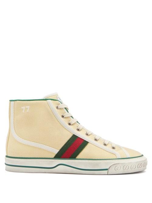 Gucci - Tennis 1977 Web-stripe Canvas High-top Trainers - Womens - Cream Multi