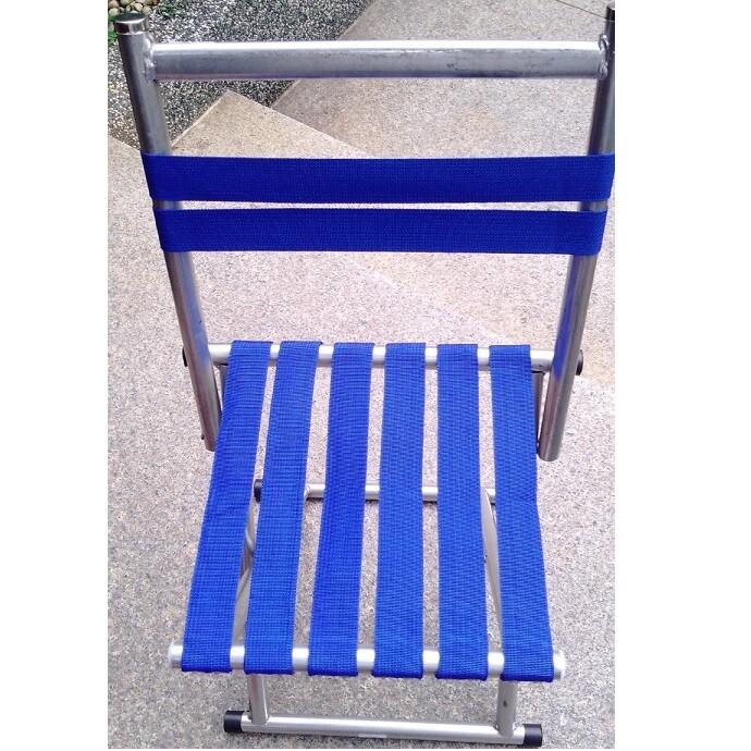 省您錢購物網全新~藍條圓管釣魚靠背折疊椅