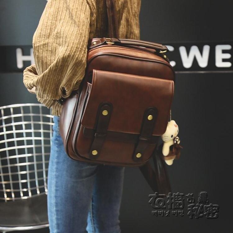 後背包 年新款復古英倫後背包女大容量韓版百搭學生書包時尚旅行背包