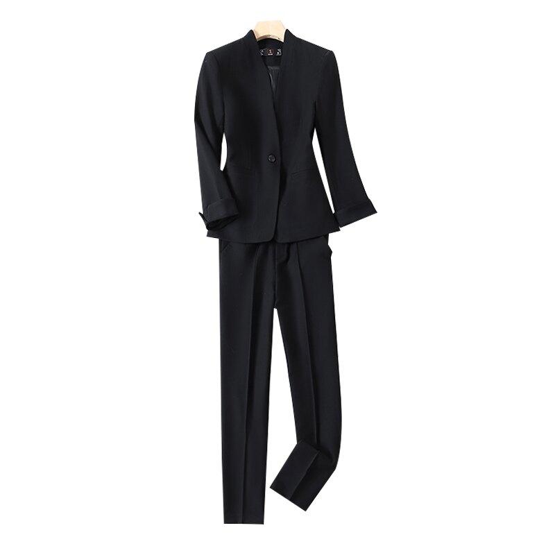 西裝套裝外套+長褲(兩件套)-簡約單扣V領百搭女西服2色73yz45【獨家進口】【米蘭精品】