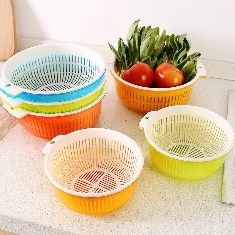 11.11 居尚坊雙層洗菜籃子塑料瀝水籃廚房淘米洗菜