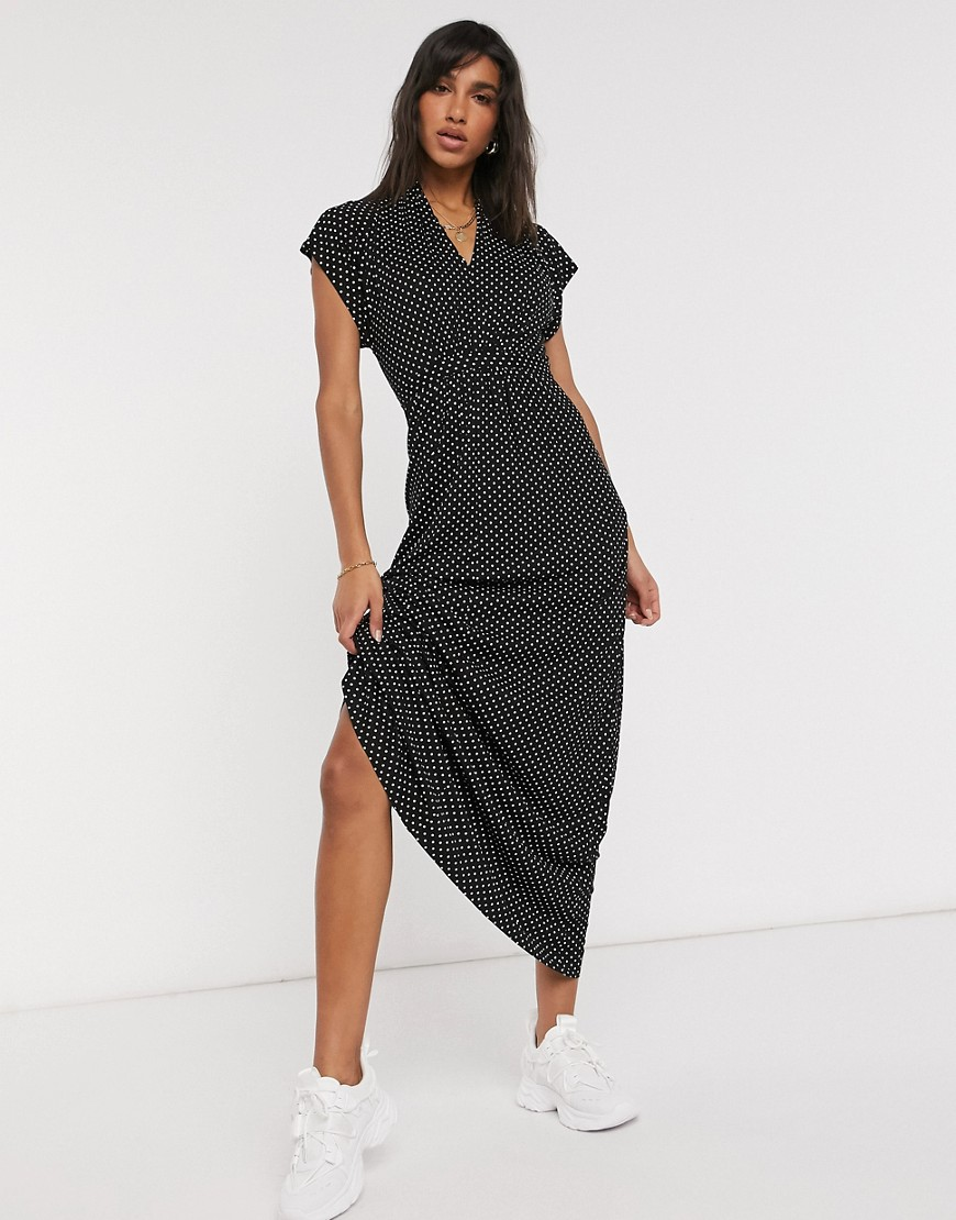 French Connection Meadow maxi dress in polka dot-Black