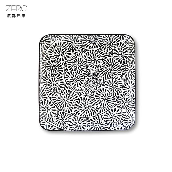 原點居家創意 10.5吋四方盤黑白螺旋 菜盤 深盤