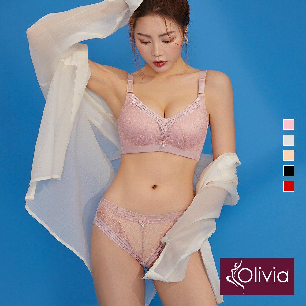 Olivia 無鋼圈集中爆乳內衣褲組-粉色