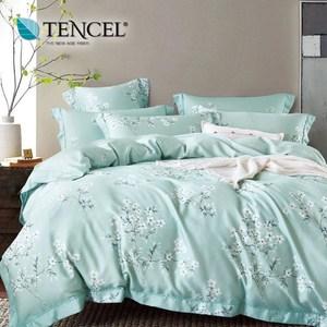【貝兒居家寢飾】100%天絲全鋪棉床包兩用被四件組(特大/花雨露)