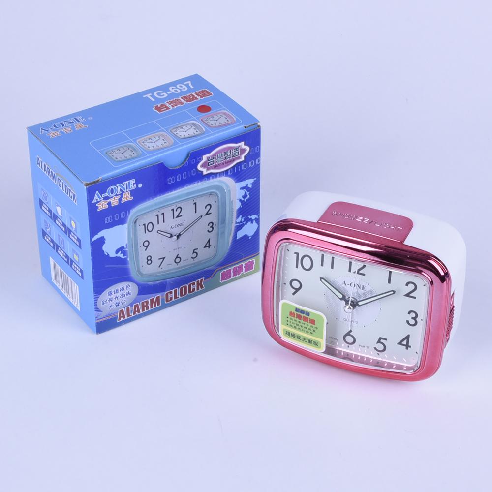 《大信百貨》 金吉星 TG-697 台灣製造 鬧鐘 時鐘 靜音 貪睡 電鍍框色 鋁夜光面板
