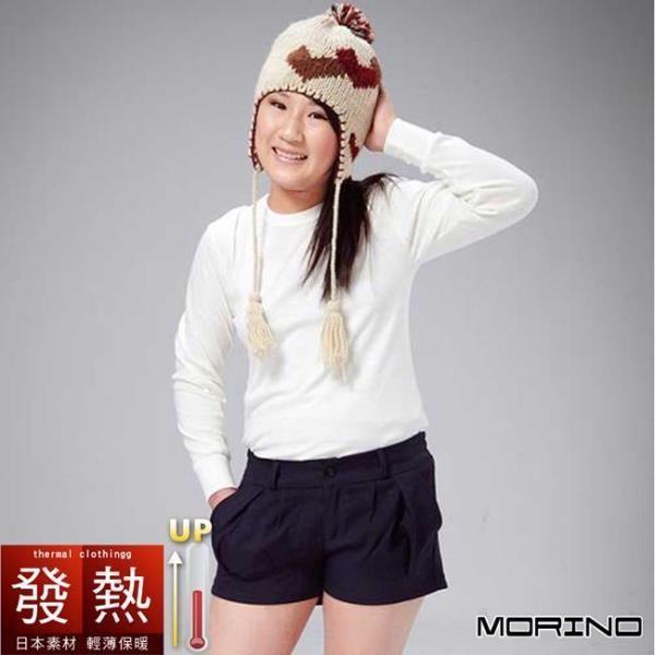 【MORINO摩力諾】日本素材兒童發熱衣長袖圓領衫 - 白色