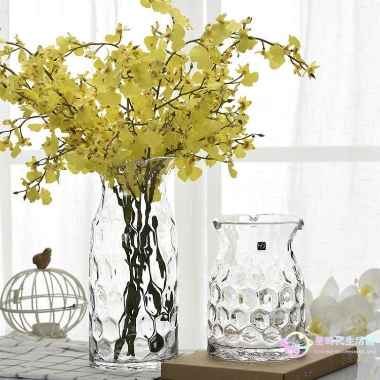 花瓶花器 復古清新手工波點玻璃花瓶 插花瓶 透明擺件創意家居裝飾品大號