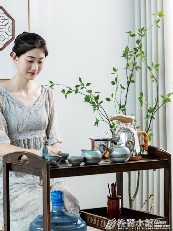 行動茶台茶車 簡約家用茶水櫃實木小茶桌茶盤功夫茶具套裝全自動