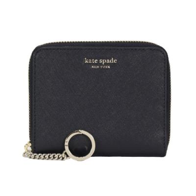 KATE SPADE 金屬字母防刮皮革拉鍊短夾含鑰匙扣環(黑色)