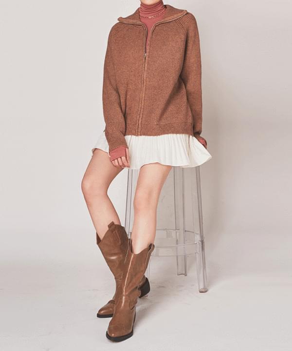 韓國空運 - Tay Rouge Knit Zip-Up 拉鍊外套