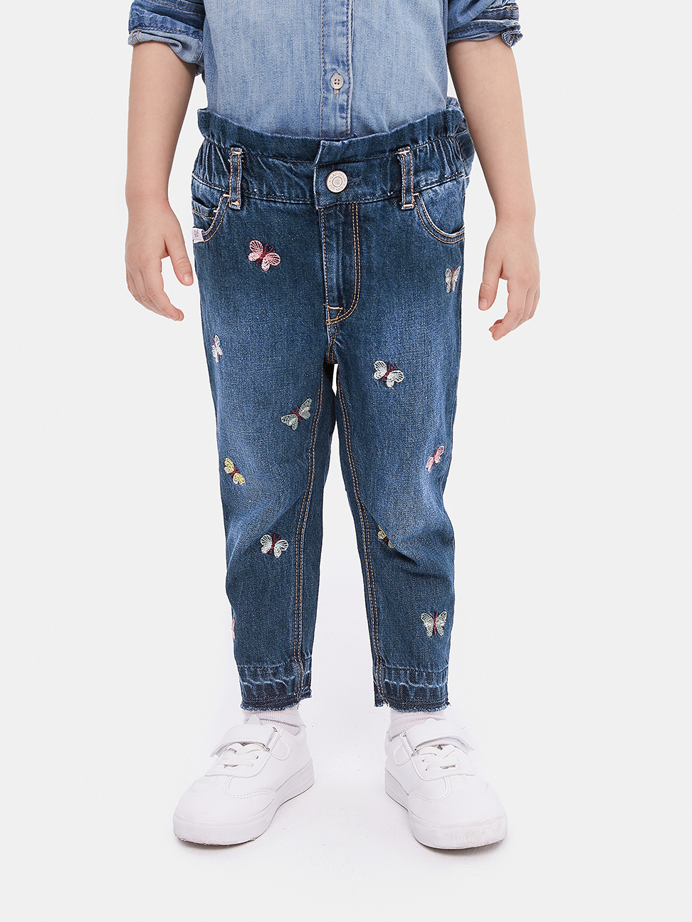 幼童 童趣風格刺繡鬆緊牛仔褲
