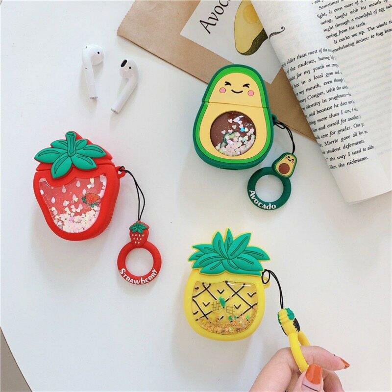 酪梨 鳳梨 草莓流沙 airpods1/2代通用  耳機保護套 台灣現貨 矽膠產品