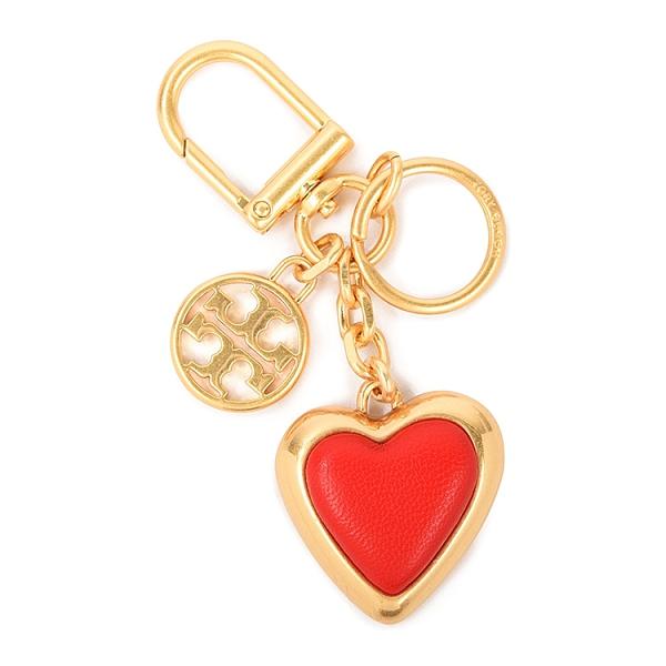 TORY BURCH雙T圓標心型鑰匙圈(紅金色)151228-1