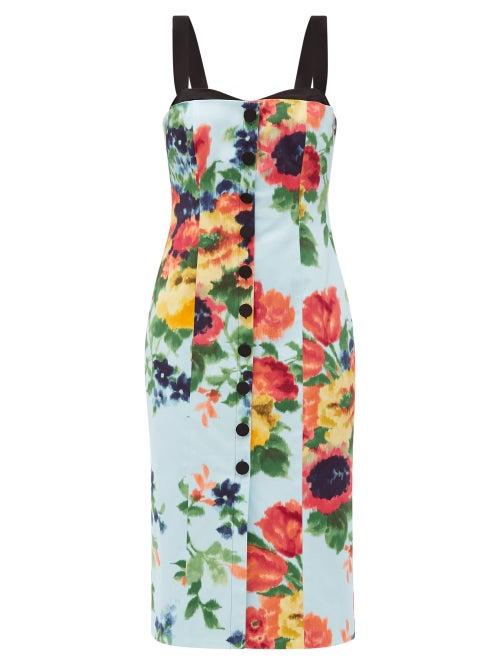 Carolina Herrera - Floral-print Cotton-blend Satin Midi Dress - Womens - Blue Multi