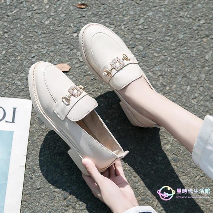 懶人鞋樂福鞋小皮鞋 厚底休閒鞋新款子韓版水鉆扣漆皮圓頭女