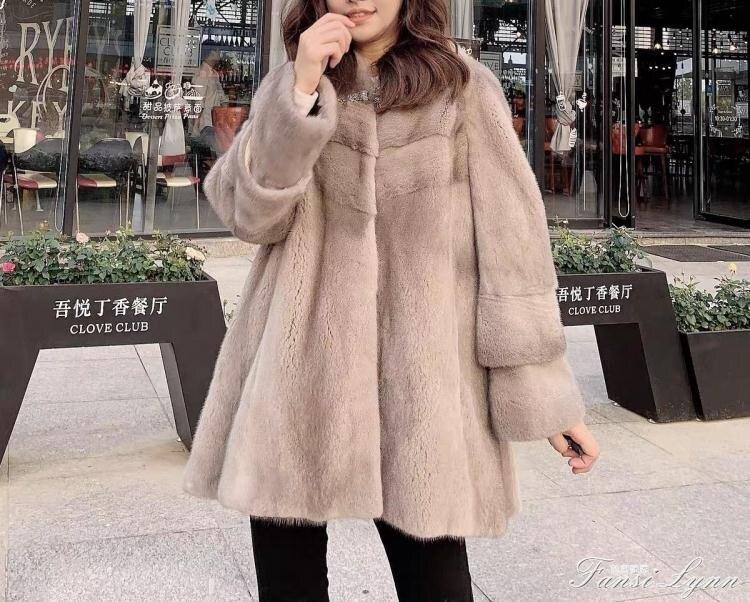 皮草外套女中長款大衣2020新款海寧韓版女裝加厚仿水貂毛毛絨顯瘦