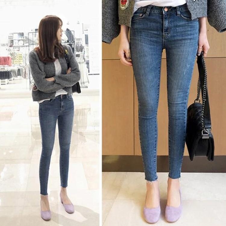 牛仔褲女年秋裝新款高腰韓版修身顯瘦百搭八分九分小腳褲子