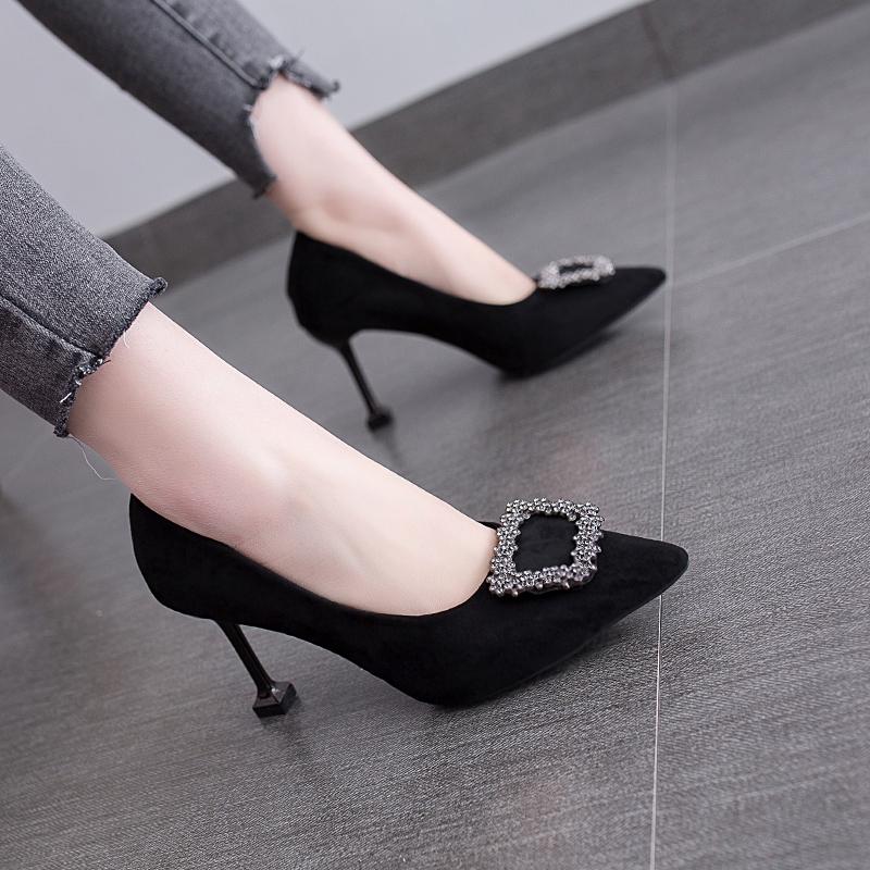 【高品質】【現貨秒發】韓版春季尖頭細跟女鞋網紅單鞋水鉆方扣高跟鞋紅色婚鞋黑色工作鞋
