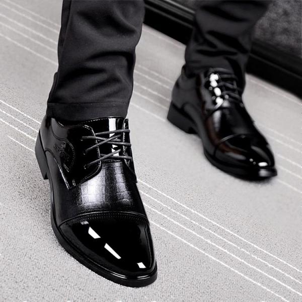 皮鞋男韓版商務休閒真皮秋季英倫黑色內增高青年正裝男鞋結婚婚鞋 雙十一全館免運