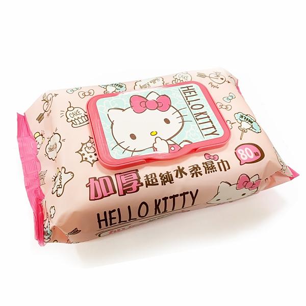 濕紙巾 Hello Kitty 加厚超純水柔濕巾80抽加蓋【文具e指通】