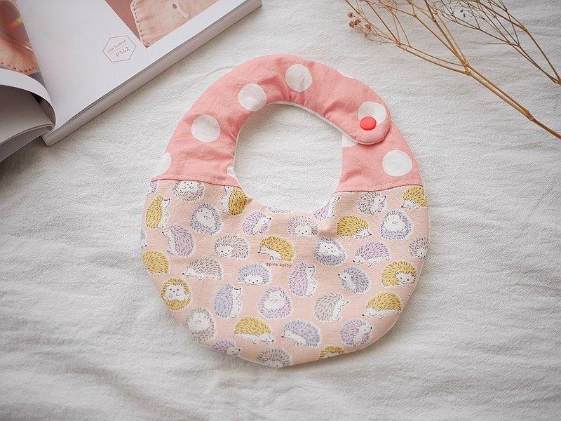 六重紗口水巾 圍兜 粉紅刺蝟款