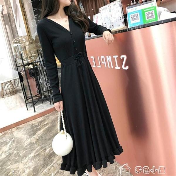 長袖洋裝法國小眾19春秋新款時尚洋裝女長袖氣質修身顯瘦收腰長裙 快速出貨