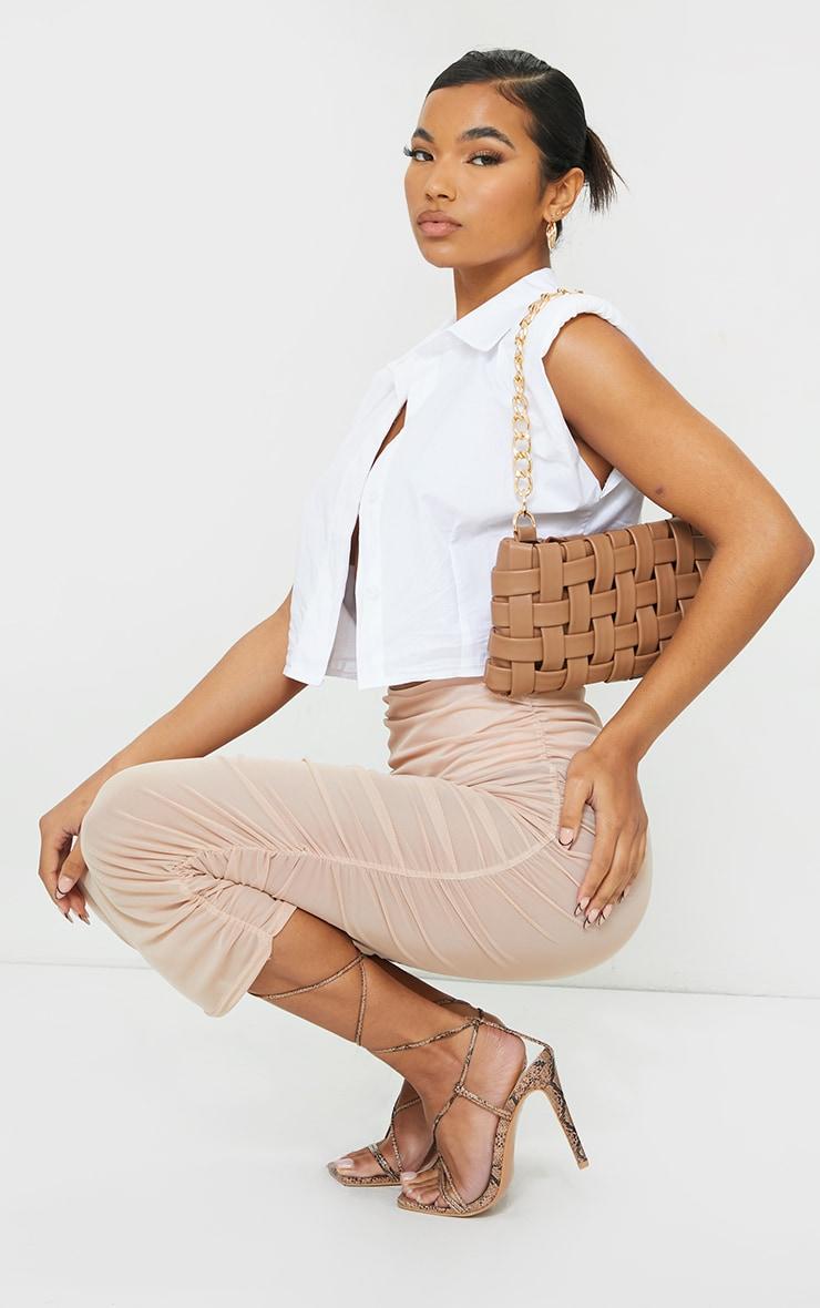 Stone Sheer Ruched Mesh Midi Skirt