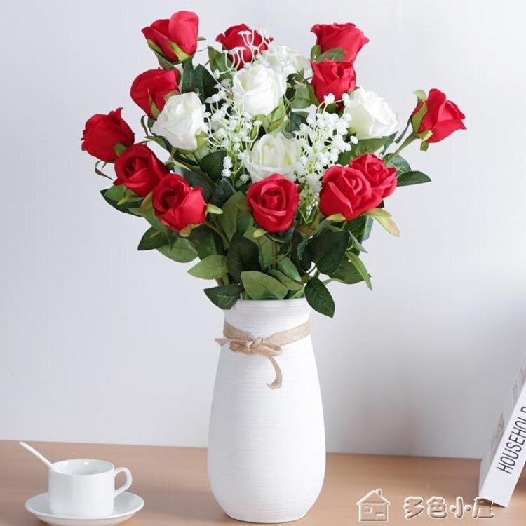 仿真花仿真玫瑰花客廳裝飾情人節花束餐桌單支假花干花擺件塑料插花擺
