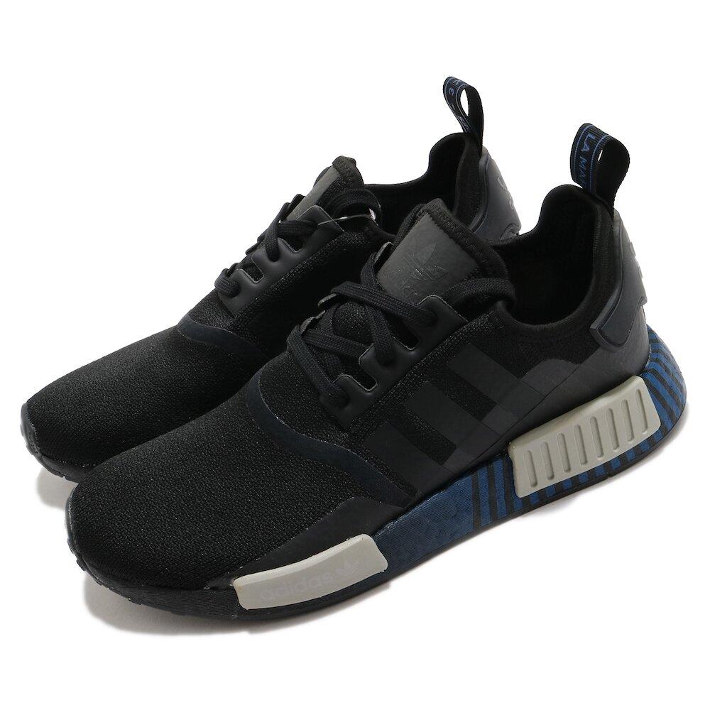 ADIDAS 休閒鞋 NMD_R1 襪套式 男鞋 海外限定 愛迪達 三葉草 Boost 黑 藍 [FV3652]