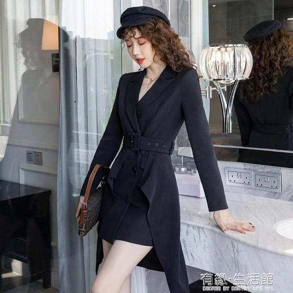 年秋季新款氣質收腰顯瘦不規則職業黑色長袖洋裝兩件套女裝 雙十二全館免運