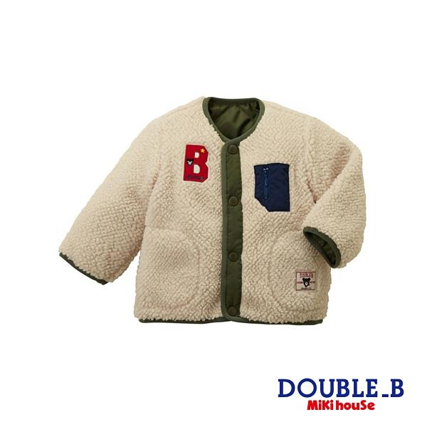 DOUBLE_B 羔羊毛雙面穿保暖外套 大(象牙)