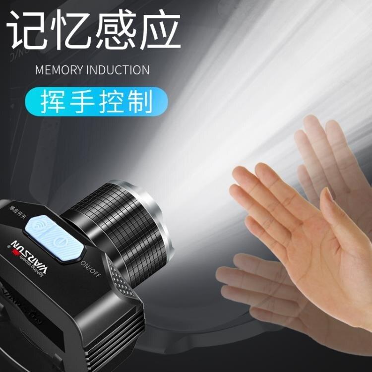 頭燈強光充電超亮頭戴式LED感應鋰電電筒疝氣礦燈夜釣魚變焦小號
