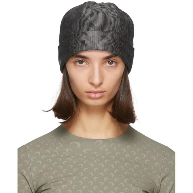 Marine Serre 黑色 and 灰色 Diamond Moon 毛线帽